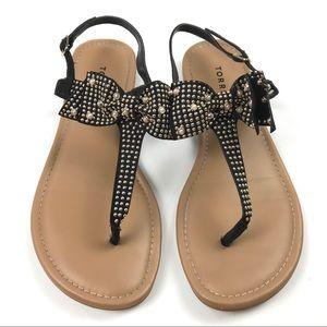 Torrid Black Bow Studded T-Strap Sandal